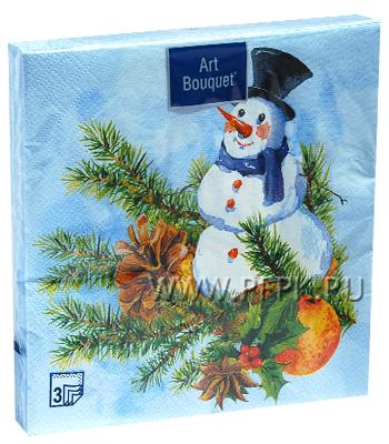 Салфетки НГ бум. DESNA BOUQUET 33х33, 3-сл.,с рис. (20 листов) Снеговик