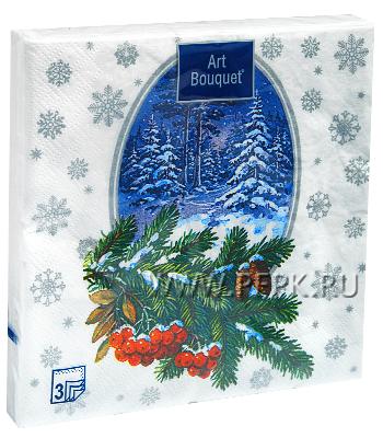 Салфетки НГ бум. DESNA BOUQUET 33х33, 3-сл.,с рис. (20 листов) Зимний лес