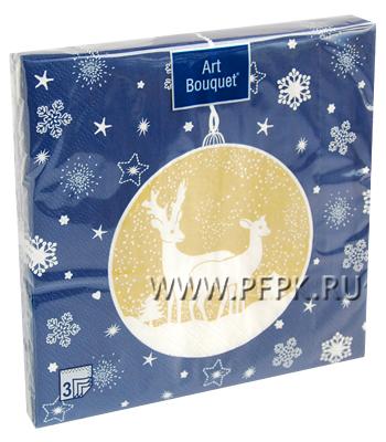Салфетки НГ бум. DESNA BOUQUET 33х33, 3-сл.,с рис. (20 листов) Новогодняя игрушка
