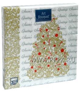 Салфетки НГ бум. DESNA BOUQUET 33х33, 3-сл.,с рис. (20 листов) Золотая ель
