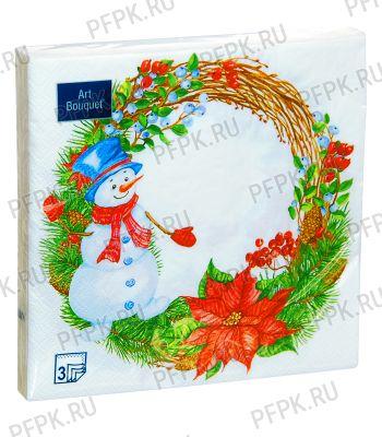 Салфетки НГ бум. DESNA BOUQUET 33х33, 3-сл.,с рис. (20 листов) Венок со снеговиком