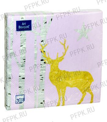 Салфетки НГ бум. DESNA BOUQUET 33х33, 3-сл.,с рис. (20 листов) Золотой олень на розовом