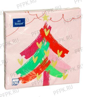 Салфетки НГ бум. DESNA BOUQUET 33х33, 3-сл.,с рис. (20 листов) Новогодняя ель на розовом