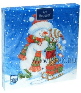 Салфетки НГ бум. DESNA BOUQUET 33х33, 3-сл.,с рис. (20 листов) Мальчик и снеговик