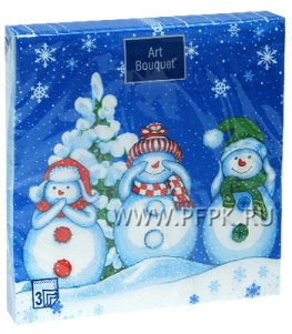 Салфетки НГ бум. DESNA BOUQUET 33х33, 3-сл.,с рис. (20 листов) Мудрые снеговики