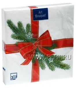 Салфетки НГ бум. DESNA BOUQUET 33х33, 3-сл.,с рис. (20 листов) Новогодний подарок