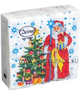 Салфетки НГ бум. DESNA DESIGN 25х25, 1-сл.,с рис. (40 листов) Дед Мороз и ель