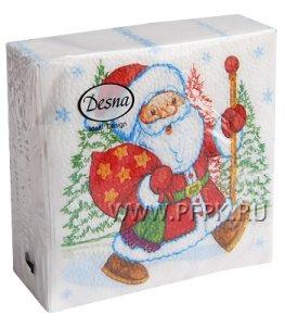 Салфетки НГ бум. DESNA DESIGN 25х25, 1-сл.,с рис. (40 листов) Дед Мороз