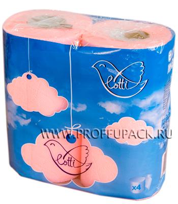 Бумага туал. 2-сл. LOTTI (уп. 4 шт.) Розовая