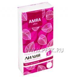 Платки носовые AMRA 2-слойные (уп.10 листов) Лилия (Lily)