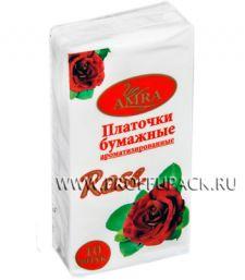 Платки носовые AMRA 2-слойные (уп.10 листов) Роза (Rose)