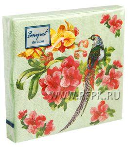 Салфетки бум. DESNA BOUQUET de LUXE 24х24, 3-сл.,с рис. (25 листов) Райский сад