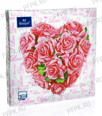 Салфетки бум. DESNA BOUQUET 33х33, 3-сл.,с рис. (20 листов) Сердце из роз