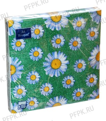 Салфетки бум. DESNA BOUQUET 33х33, 3-сл.,с рис. (20 листов) Daisy (Ромашки) на зеленом