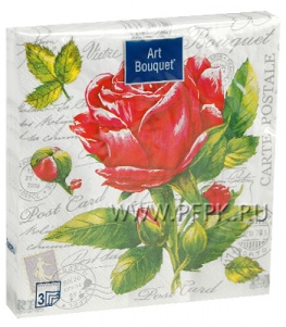 Салфетки бум. DESNA BOUQUET 33х33, 3-сл.,с рис. (20 листов) Роза NEW