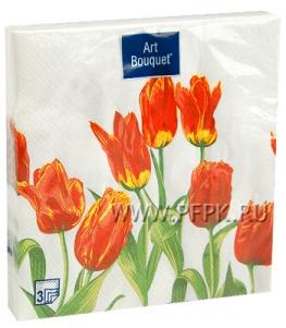 Салфетки бум. DESNA BOUQUET 33х33, 3-сл.,с рис. (20 листов) Тюльпаны красная леди