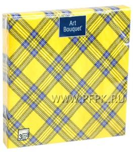 Салфетки бум. DESNA BOUQUET 33х33, 3-сл.,с рис. (20 листов) Шотландская клетка желтая