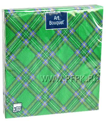 Салфетки бум. DESNA BOUQUET 33х33, 3-сл.,с рис. (20 листов) Шотландская клетка зеленая