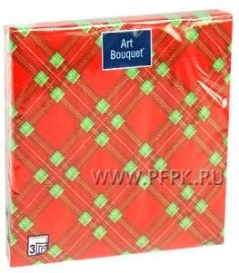Салфетки бум. DESNA BOUQUET 33х33, 3-сл.,с рис. (20 листов) Шотландская клетка красная