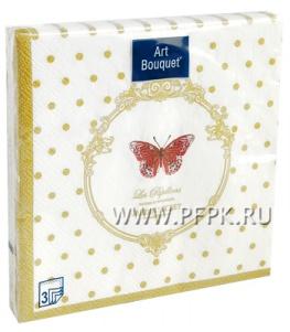 Салфетки бум. DESNA BOUQUET 33х33, 3-сл.,с рис. (20 листов) Бабочки de luxe