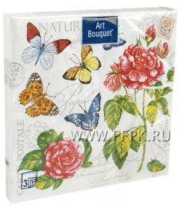 Салфетки бум. DESNA BOUQUET 33х33, 3-сл.,с рис. (20 листов) Бабочки и розы