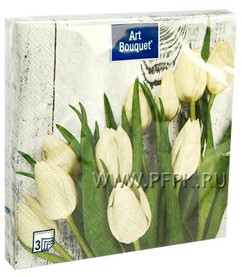 Салфетки бум. DESNA BOUQUET 33х33, 3-сл.,с рис. (20 листов) Белые тюльпаны