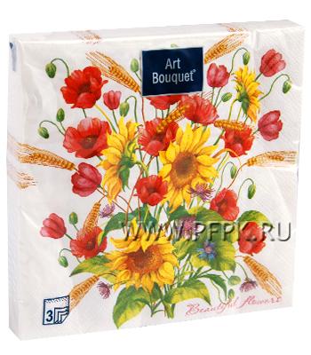 Салфетки бум. DESNA BOUQUET 33х33, 3-сл.,с рис. (20 листов) Солнечный букет
