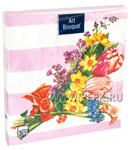 Салфетки бум. DESNA BOUQUET 33х33, 3-сл.,с рис. (20 листов) Весенняя мозаика