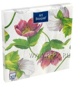 Салфетки бум. DESNA BOUQUET 33х33, 3-сл.,с рис. (20 листов) Декоративный цветок