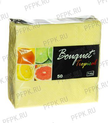 Салфетки бум. DESNA BOUQUET TROPICAL 25х25, 2-сл. (50 листов) Светло-желтые