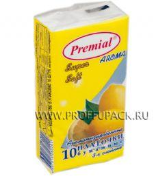 Платки носовые PREMIAL 3-слойные (уп.10 листов) Лимон