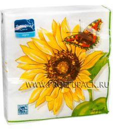 Салфетки бум. DESNA BOUQUET 33х33, 2-сл.,с рис. (20 листов) Подсолнух с бабочкой