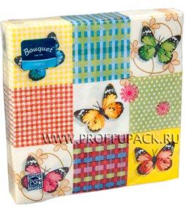 Салфетки бум. DESNA BOUQUET 33х33, 2-сл.,с рис. (20 листов) Бабочки на клетке
