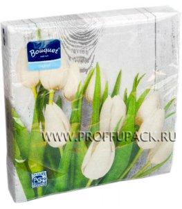 Салфетки бум. DESNA BOUQUET 33х33, 2-сл.,с рис. (20 листов) Белые тюльпаны