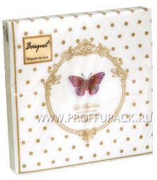 Салфетки бум. DESNA BOUQUET 33х33, 2-сл.,с рис. (20 листов) Бабочки де люкс