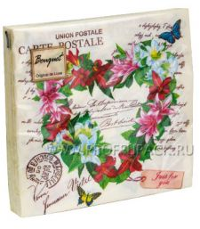 Салфетки бум. DESNA BOUQUET 33х33, 2-сл.,с рис. (20 листов) Сердце из лилий