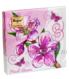 Салфетки бум. DESNA BOUQUET 33х33, 2-сл.,с рис. (20 листов) Цветок персика
