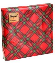 Салфетки бум. DESNA BOUQUET 33х33, 2-сл.,с рис. (20 листов) Шотландская клетка на красном