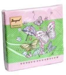 Салфетки бум. DESNA BOUQUET 33х33, 2-сл.,с рис. (20 листов) Веселые бабочки