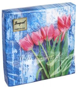 Салфетки бум. DESNA BOUQUET 33х33, 2-сл.,с рис. (20 листов) Красные тюльпаны на голубом