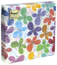 Салфетки бум. DESNA BOUQUET 33х33, 2-сл.,с рис. (20 листов) Романтические бабочки