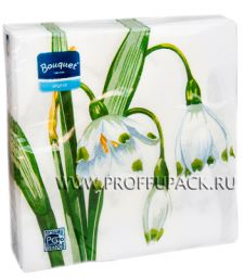 Салфетки бум. DESNA BOUQUET 33х33, 2-сл.,с рис. (20 листов) Белый цветок