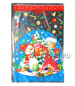 Пакет НГ прозр. с рис. + мет. 20х30 Новогодняя елка (№4)
