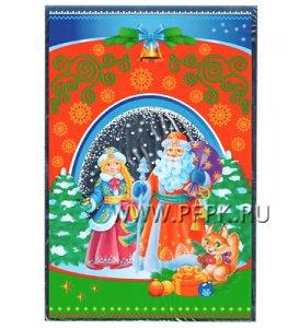 Пакет НГ прозр. с рис. + мет. 20х30 Дед Мороз и Снегурочка (№29)