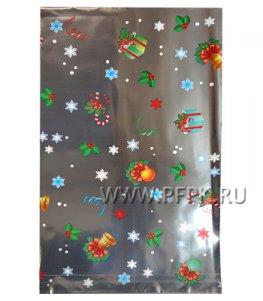 Пакет НГ прозр. с рис. + мет. 20х35 Снегурочка (№39)