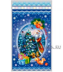 Пакет НГ прозр. с рис. + мет. 20х35 Дед Мороз (№32)