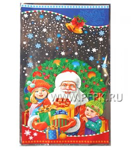 Пакет НГ прозр. с рис. + мет. 20х35 Дед Мороз с подарками (№31)