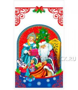 Пакет НГ прозр. с рис. + мет. 20х35 Дед Мороз и Снегурочка (№27)