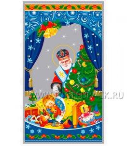 Пакет НГ прозр. с рис. + мет. 20х35 Рождество (№10)