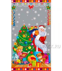 Пакет НГ прозр. с рис. + мет. 20х35 Дед Мороз (№9)